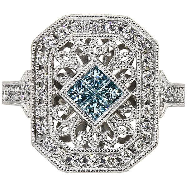 14 Karat White Gold Blue and White Diamond Ring
