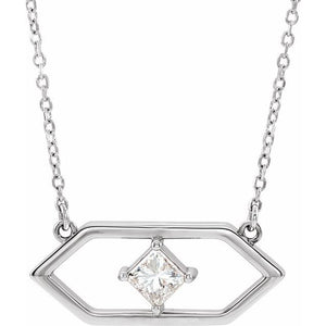 14 Karat White Gold Geometric Diamond Necklace