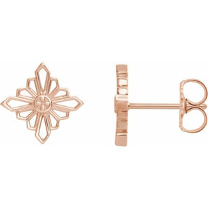 14 Karat Rose Gold Vintage-Inspired Geometric Earrings