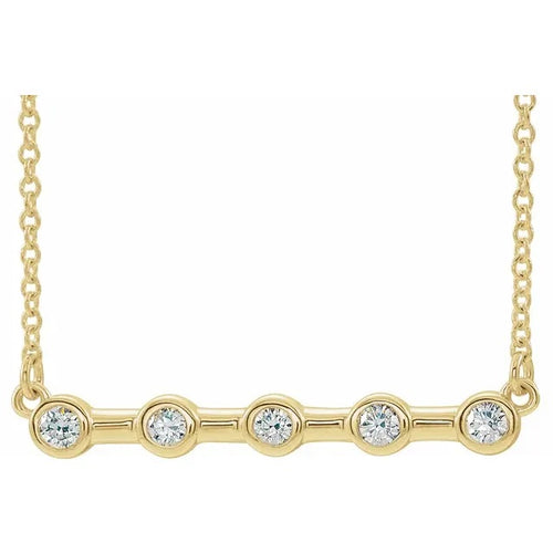 14 Karat Yellow Gold Bezel-Set Diamond Bar Necklace