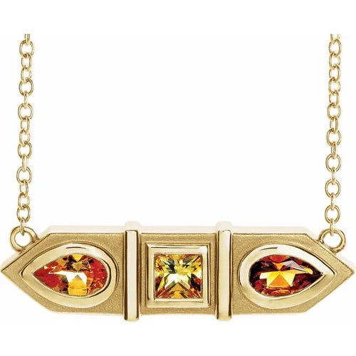 14 Karat Yellow Gold Yellow Multi-Gemstone Geometric Bar Necklace