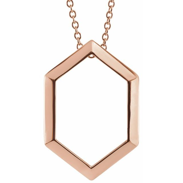 14 Karat Rose Gold Geometric Necklace