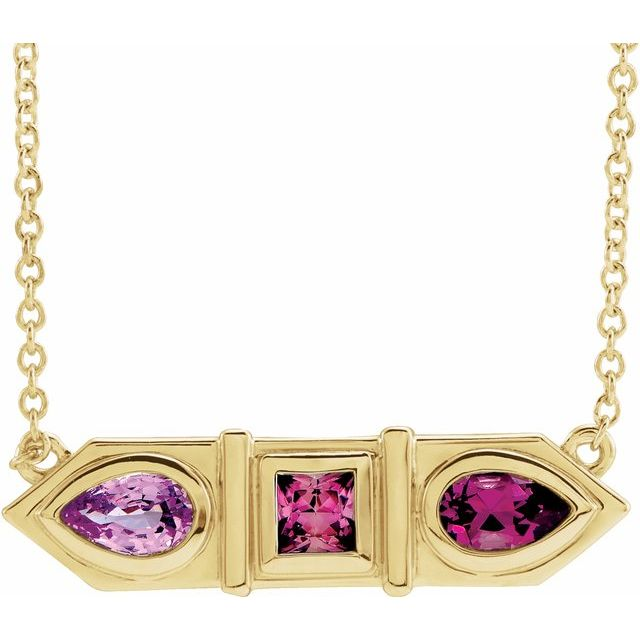 14 Karat Yellow Gold Pink Multi-Gemstone Geometric Bar Necklace