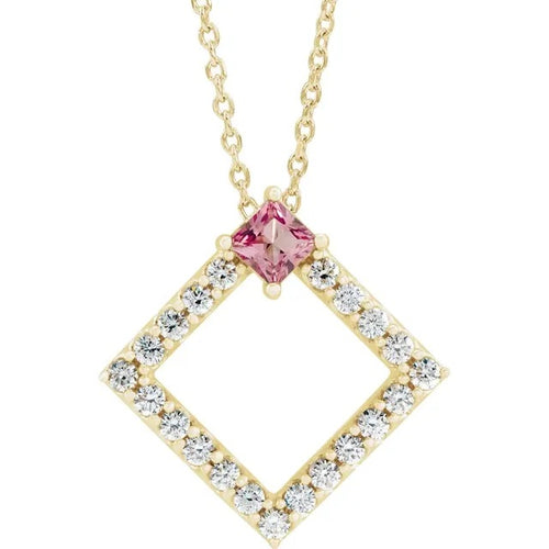 14 Karat Yellow Gold Pink Tourmaline and Diamond Geometric Necklace