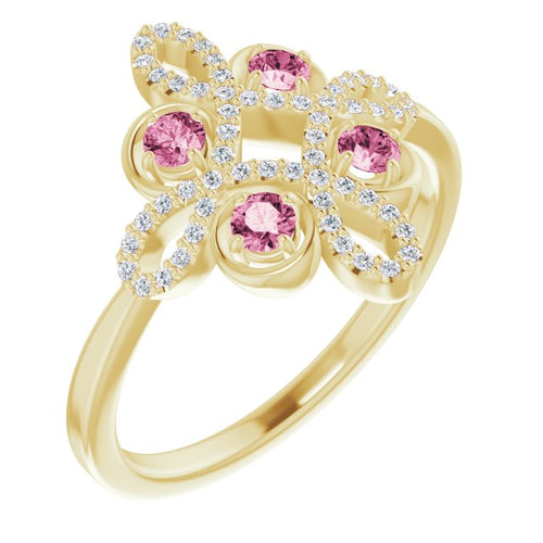 14 Karat Yellow Gold Pink Tourmaline and Diamond Clover Ring