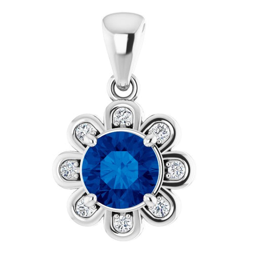 14 Karat White Gold Chatham Created Blue Sapphire and Diamond Flower Necklace