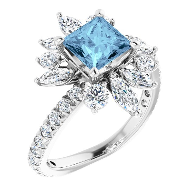 14 Karat White Gold Aquamarine and Diamond Ring