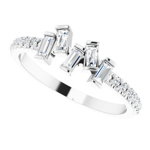 14 Karat White Gold Scattered Diamond Ring