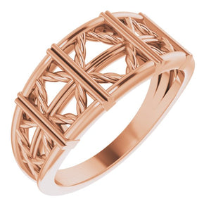 14 Karat Rose Gold Lattice Stackable Ring