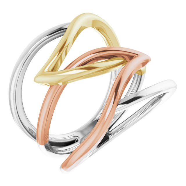14 Karat Tri-Color Criss-Cross Ring