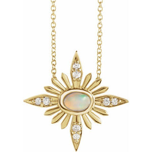 14 Karat Yellow Gold Ethiopian Opal and Diamond Celestial Necklace