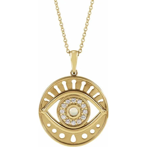 14 Karat Yellow Gold Ethiopian Opal and Diamond Evil Eye Necklace