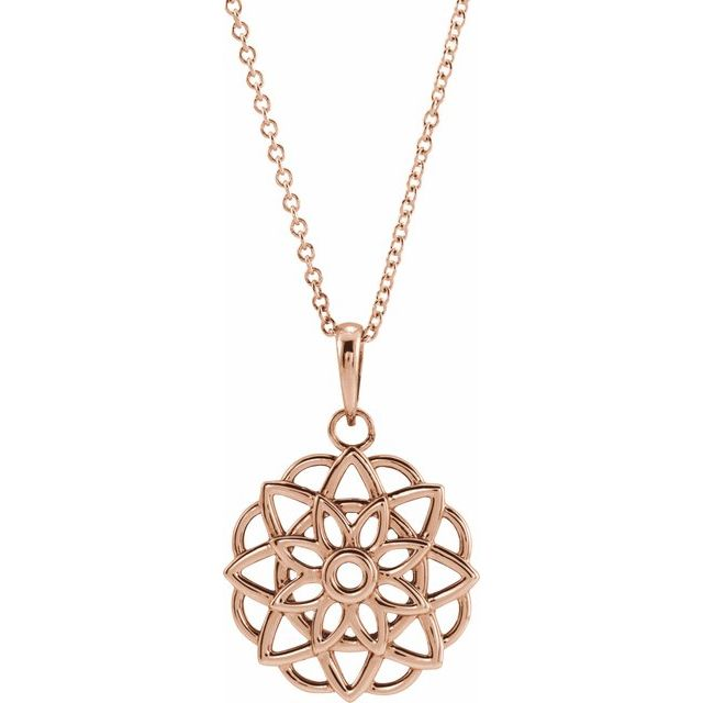 14 Karat Rose Gold Floral-Inspired Necklace