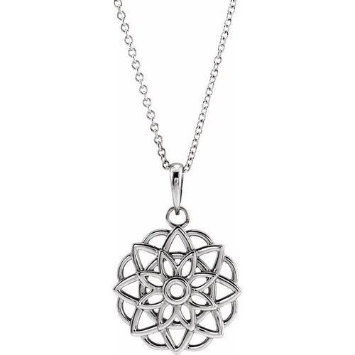 14 Karat White Gold Floral-Inspired Necklace