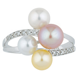 14 Karat White Gold Multi-Color Freshwater Pearl and Diamond Ring