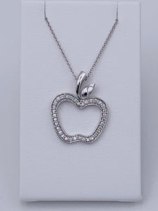 14 Karat White Gold Diamond Apple Necklace