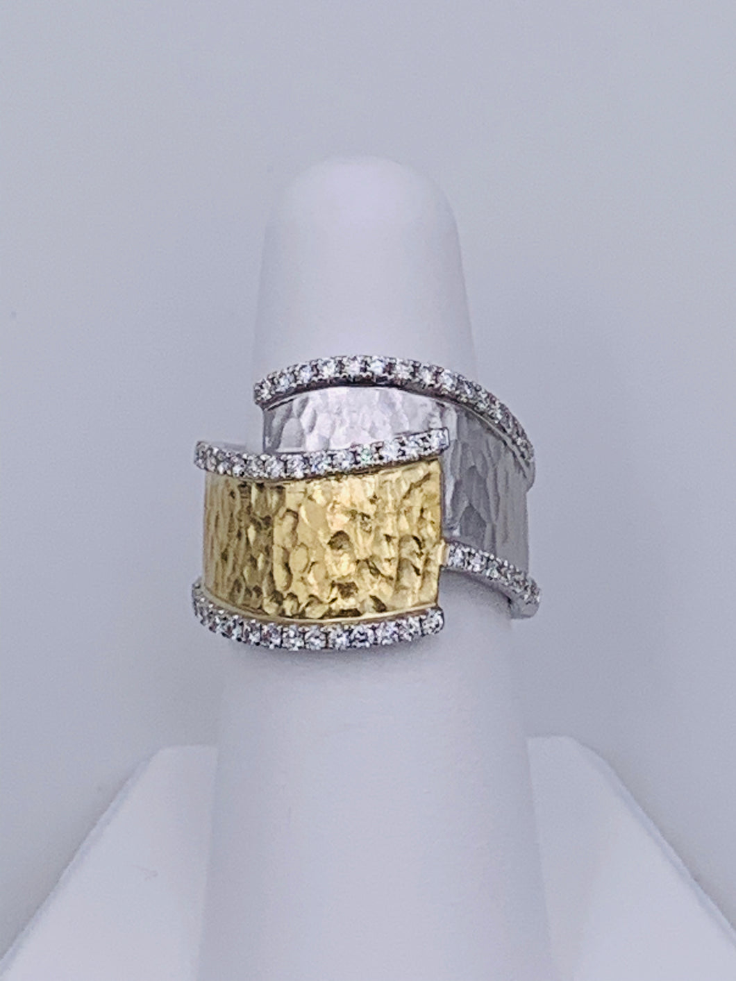 14 Karat White and Yellow Gold Hammered Diamond Bypass-Style Ring