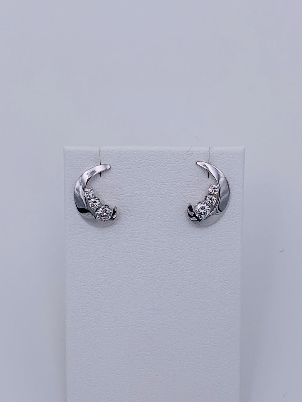 14 Karat White Gold Half-Moon Diamond Earrings