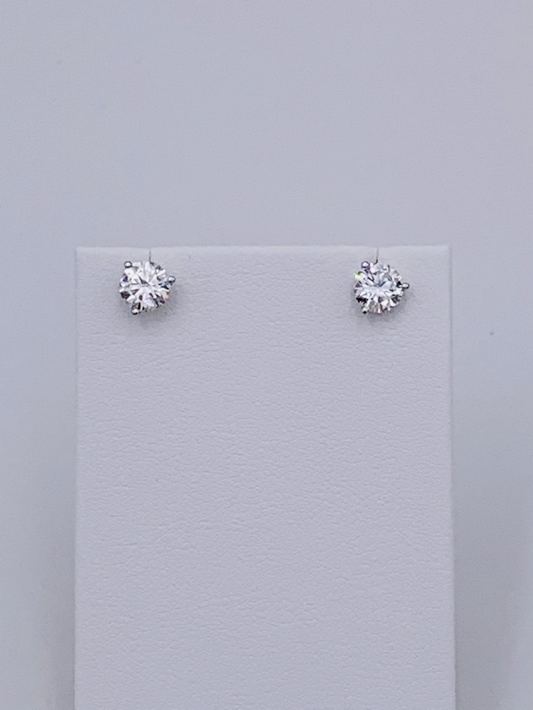 14 Karat White Gold Martini Style Round Brilliant Diamond Stud Earrings