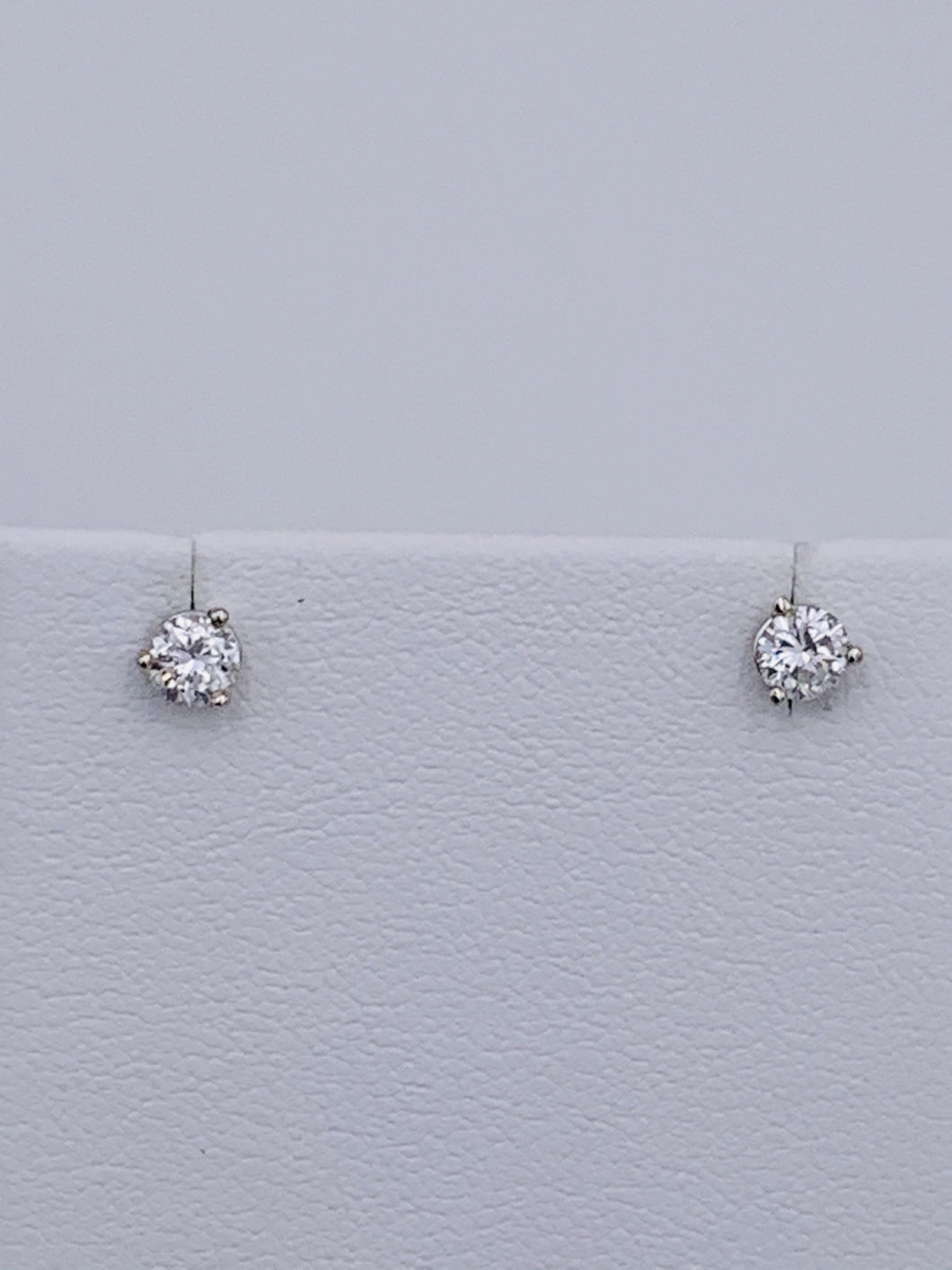14 Karat White Martini-Style Round Brilliant Diamond Stud Earrings