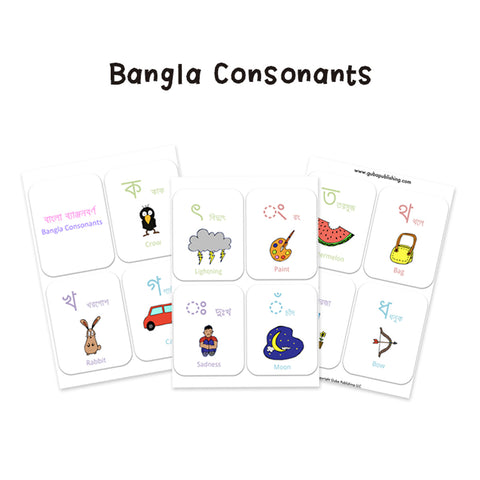 Bangla alphabet consonants printables