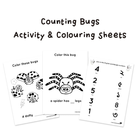 Counting Bugs Activity and coloring sheets