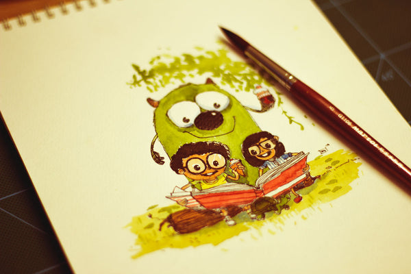 rakibul hasan two kids illustration