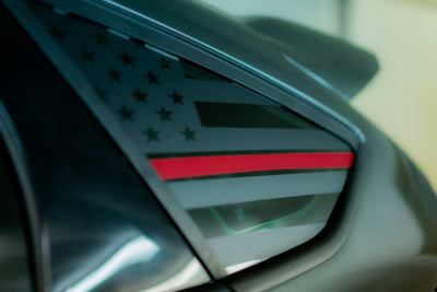 Ford Focus American flag decal with blue line , red lie and imprint army green line
