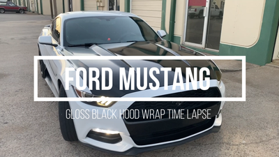 How to wrap a Ford Mustang 2018 hood gloss black