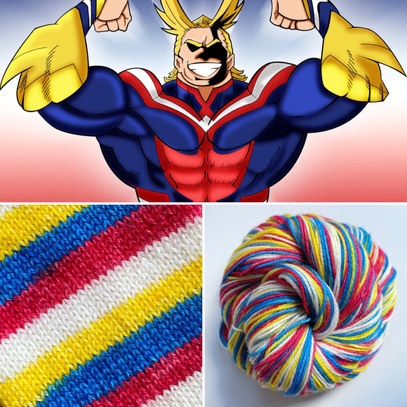 ALL MIGHT | Sock Yarn | Self-Striping Yarn | Four Stripe | Fingering Weight Yarn | Dyed to Order