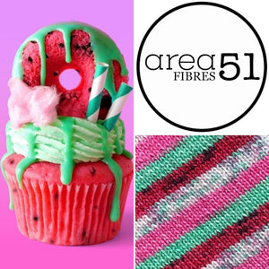 WATERMELON SPECKLE CUPCAKE | Sock Yarn | Self-Striping Yarn | Fingering Weight Yarn | Dyed to Order