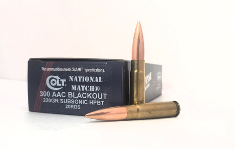 300 AAC BLACKOUT 220gr. Colt National Match® Subsonic HPBT 20rds