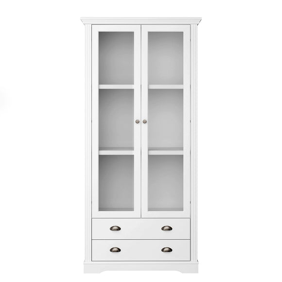 Steens Venice 2 Door 2 Drawer Display Cabinet MDF White - Wall Shelves Direct
