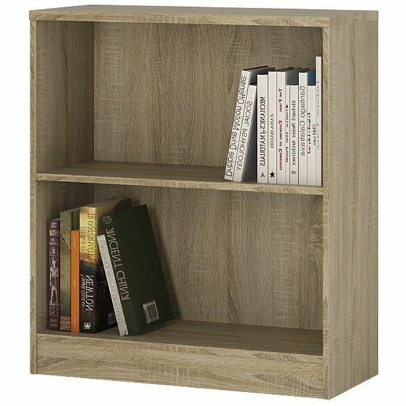 Sonoma Oak Modern Low Wide Bookcase Storage Display Bookshelf Shelving Shelves - Wall Shelves Direct