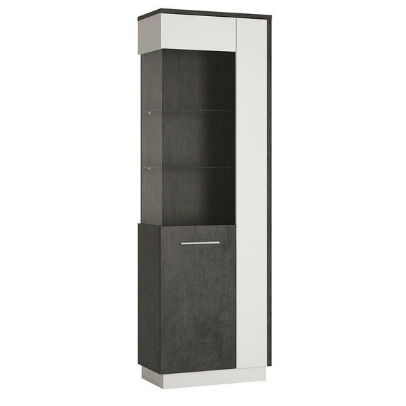 Zingaro Tall Glazed Display Cabinet Cupboard Unit with Shelves (LH) - Wall Shelves Direct