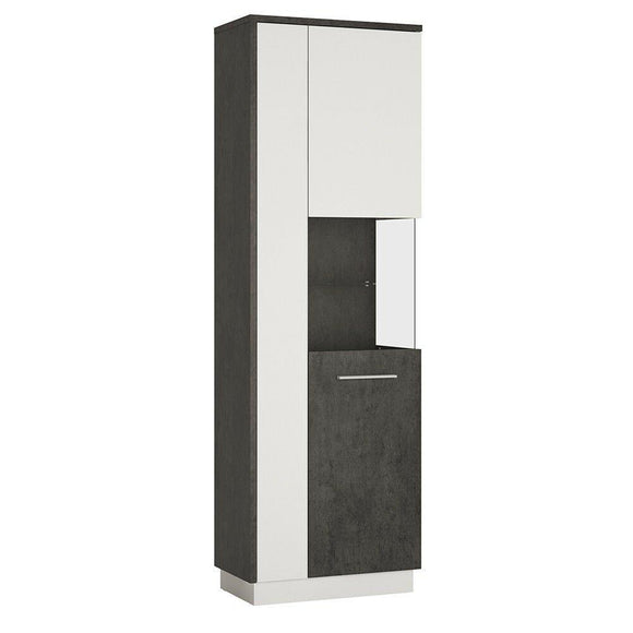 Zingaro Tall Glazed Display Cabinet Cupboard Unit (RH) - Wall Shelves Direct