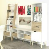 Oslo Retro Leaning Bookcase Shelving Unit 1 Drawer in White and Oak - Wall Shelves Direct
