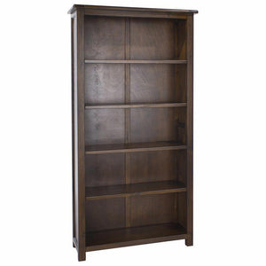 Bookcase Dark Wood Large Tall Wide Adjustable Shelves Boston Range Living Room - Wall Shelves Direct