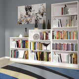 4 You Pearl White Home Living Furniture Tall Wide 4 Shelf Bookcase Cabinet Unit - Wall Shelves Direct