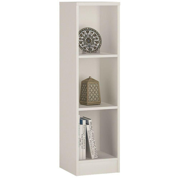 4 You Pearl White Home Living Furniture Medium Narrow Bookcase 2 Shelf Storage - Wall Shelves Direct