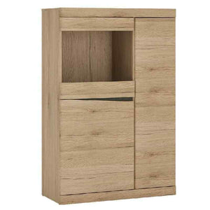 Kensington Oak and Glass 3 Door Glazed Display Cabinet Unit Handle Free Design - Wall Shelves Direct