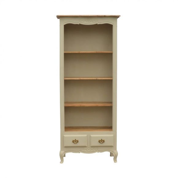 French Style 2 Drawer Hand Painted Bookcase With 4 Shelves - Wall Shelves Direct