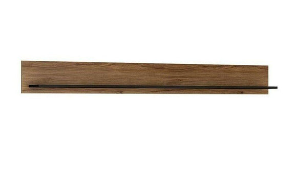 Brolo Modern Classy Extra Wide Walnut & Dark Panel Finish Wall Shelf 197 cm - Wall Shelves Direct