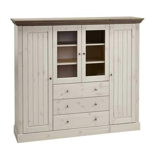 Steens Monaco In Stone & Mushroom 2+2 Glazed Door 3 Drawer Display Cabinet - Wall Shelves Direct
