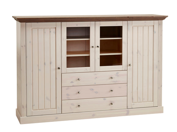 Steens Monaco Display Cabinet In Whitewash - Wall Shelves Direct