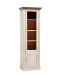 Steens Monaco 1+1 Door Narrow Glazed Display Unit In Whitewash - Wall Shelves Direct