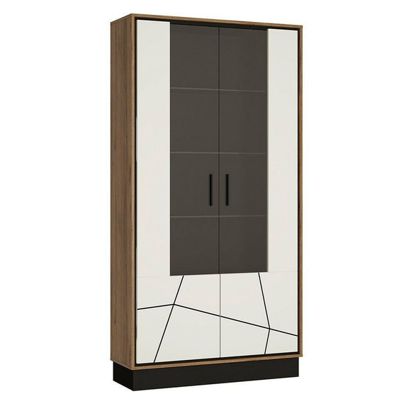 Brolo Modern Classy Tall Wide Glazed Display Cabinet in Walnut & Off White Gloss - Wall Shelves Direct