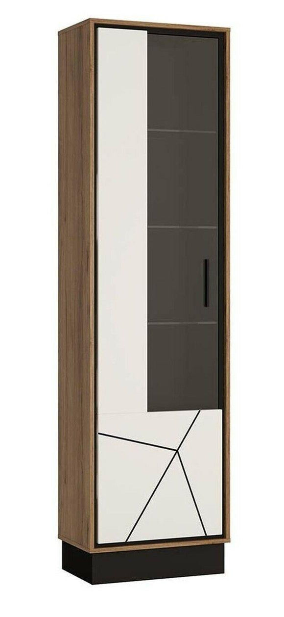 Brolo Modern Classy Tall Glazed Display Cabinet (LH) in Walnut & Off White Gloss - Wall Shelves Direct