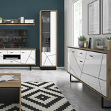 Brolo Modern Classy Tall Glazed Display Cabinet (RH) in Walnut & Off White Gloss - Wall Shelves Direct