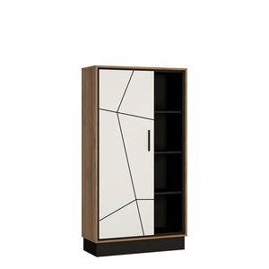 Modern Walnut Wide 1 Door Bookcase Display Cabinet Storage Shelving Furniture - Wall Shelves Direct